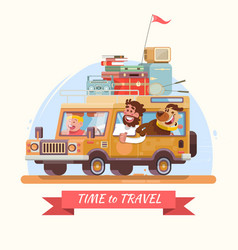 family summer vacation orange car with suitcases vector image