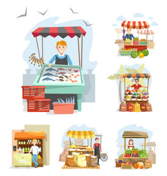 farm market stands and booths with vendors vector image