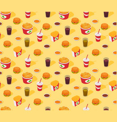 Fast-food seamless isometric pattern vector