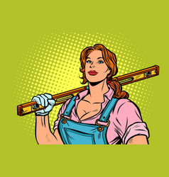 female construction worker with level vector image