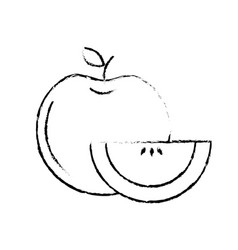 Figure delicious apple with slice and exotic food vector