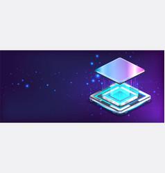 futuristic cpu microchip banner in isometric vector image