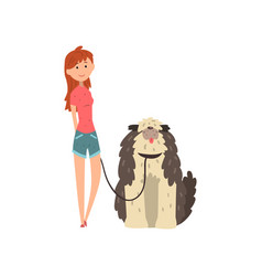 girl walking her shaggy dog on vector image