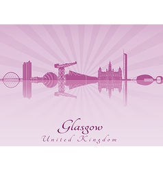 Glasgow skyline in purple radiant orchid vector