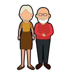 Grandparents couple cartoon vector