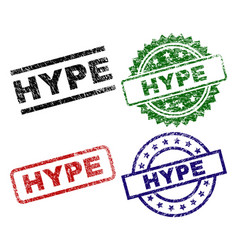 Grunge textured hype stamp seals vector