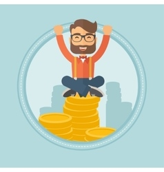 Happy businessman sitting on coins vector image