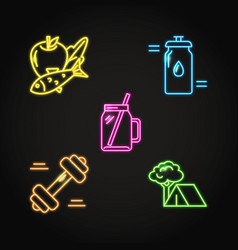 healthy lifestyle concept icon set in neon style vector image