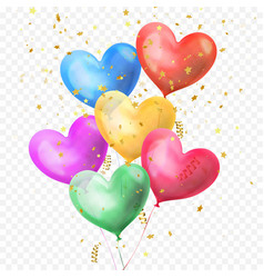 Heart balloons bunch and golden glitter stars vector