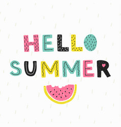 Hello summer poster hand draw style vector
