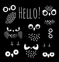 Hello with cartoon owl eyes vector