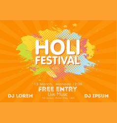 holi spring festival of colors invitation vector image