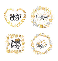 holly jolly quote merry year holiday vector image