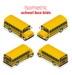 Isometric yellow school bus kids vector