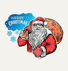 jolly santa claus with a bag of gifts on the vector image