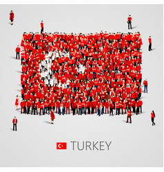 large group people in shape turkish flag vector image
