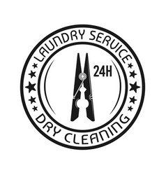 laundry dry cleaning emblem with clothes pin vector image
