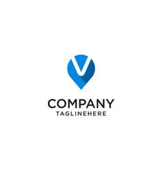Letter v with map pointer logo design concept vector