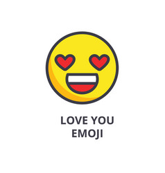 love you emoji line icon sign vector image