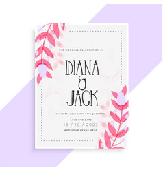 Lovely pink leaves wedding invitation card design vector