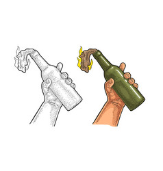 Male hand holding molotov cocktail engraving vector