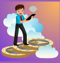 man rising up to clouds on ethereum coins vector image