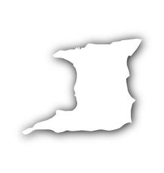 Map of Trinidad and Tobago with shadow vector