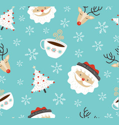 Merry christmas santa deer winter seamless pattern vector