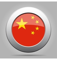 Metal button with flag of china vector