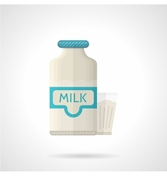 Milk bottle and glass flat color icon vector image