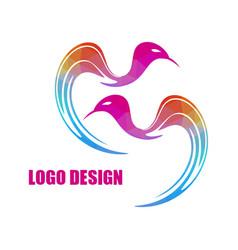 modern bright colored triangular bird logo vector image