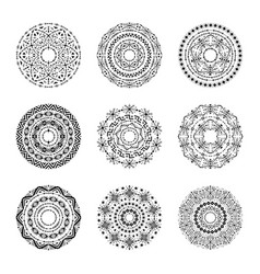 monochrome set of mandalas in tribal style vector image