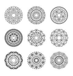 monochrome set of mandalas in tribal style vector image