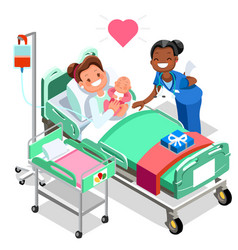Nurse with baby doctor or nurse patient isometric vector