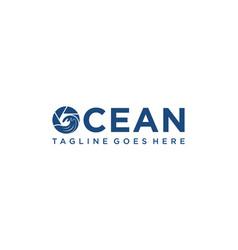 Ocean photography for logo design editable vector