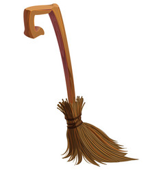 Old brown magic witch broom for quidditch isolated vector
