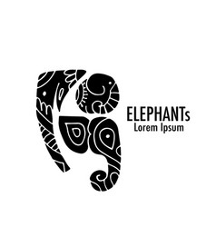 Ornate elephant design vector