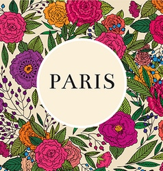 Paris floral frame design vector image