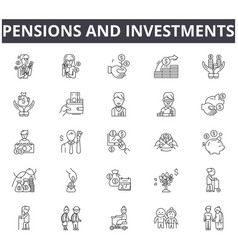 Pensions and investments line icons signs vector