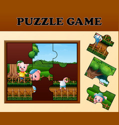 pigs in the garden with puzzle concept vector image