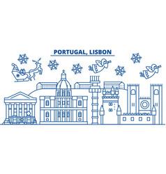 portugal lisbon winter city skyline merry vector image