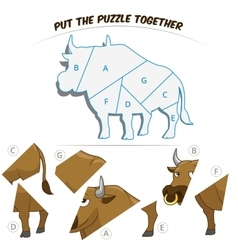 Puzzle game for children bull vector