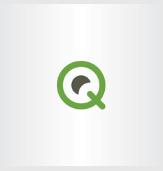 q logo icon green letter symbol element vector image