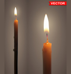 realistic burning wax candles with flame vector image