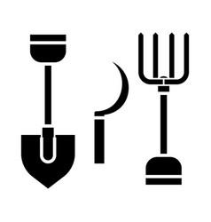 Rural tools shovel hayfork reaping hook ico vector