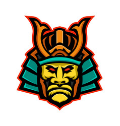 Samurai warrior head mascot vector