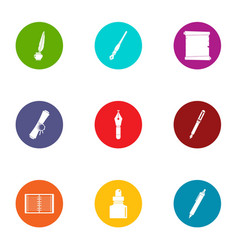scribe icons set flat style vector image