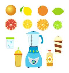 Set of juice ingredients mixer blender bottle cups vector