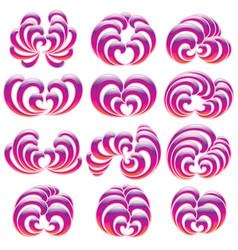 set of twelve decorative floral curls vector image