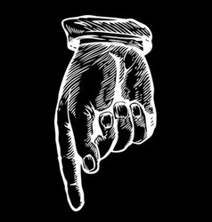Sketch of a Hand Pointing Down vector